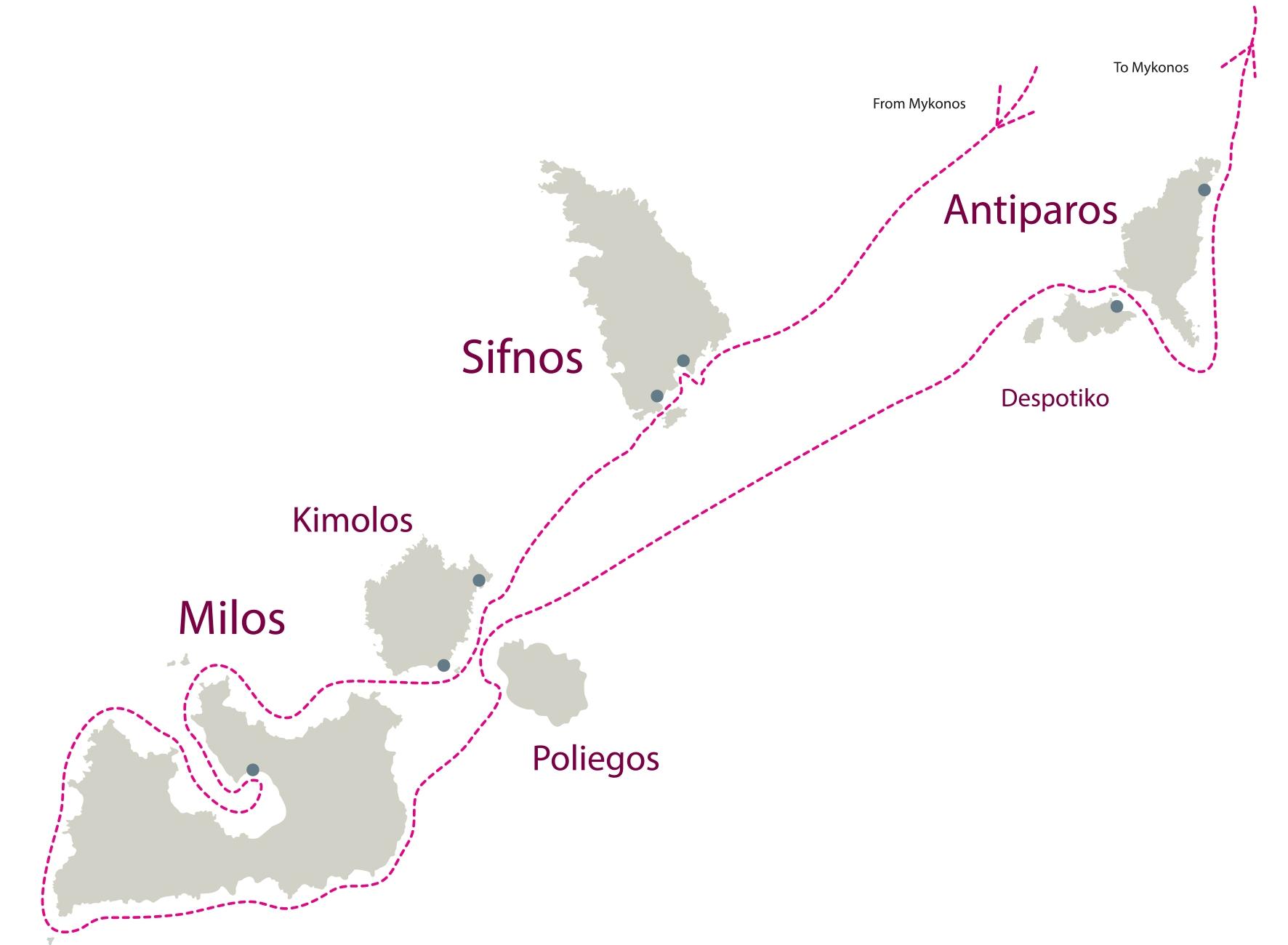Don Blue Yacthing - Private Cruise - Sifnos Kimolos Milos Antiparos Route