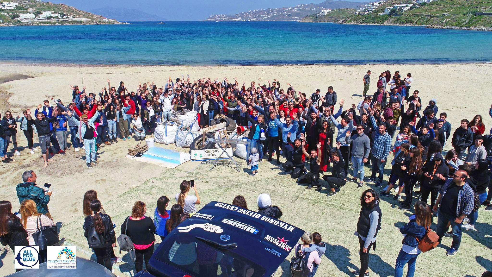 Mykonos Beach and Sea Cleanup by All For Blue and Don Blue Yachting