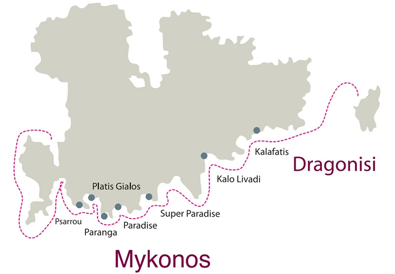 Private Day Cruise from Paros to Mykonos South Coast & Dragonisi island